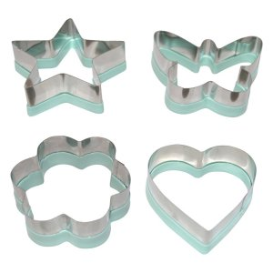 My Kitchen Mate Stainless Steel Cookie Cutter Set 4 Piece Mini Heart Flower Butterfly & Star Biscuit Cutters-Sandwich Cutter