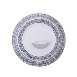 Royalty Collection, 40 Pack White with Silver Rim Plate Combo (Includes 20-7.5 Plates and 20-10.25 Plates) Heavyweight Plastic Elegant Dinnerware Set