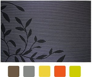 Secret Life(TM) Set of 4 Reversible Silver Grey Color Leaf Theme Woven Vinyl Holiday Fall Dinner Placemats Set (4, Silver Grey)