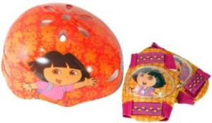 Dora Hardshell Bicycle Helmet and Protective Pad Value Pack (Toddler)