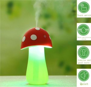 Haoran 200ml Portable Ultrasonic Cool Mist Mushroom Lamp Humidifier with Color LED Lights (3rd Generation, Touch inductive switch) USB Mini Whisper-Quiet Air Humidifier,
