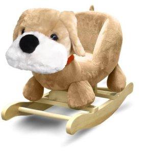 Jump and Dream Hardwood Hardwood Children's Fluffy Dog Shape Rocking Chair Soft Padded Seat, Brown