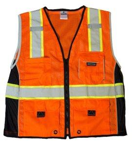 ML Kishigo 1514 Ultra-Cool Polyester Black Series Heavy Duty Vest, 2X-Large, Orange