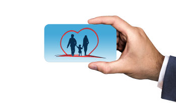 man's hand holding a blue card with a family inside a heart on it.