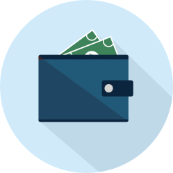 drawing of a blue wallet with cash sitcking out of it.