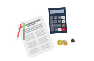 calculator next to a paper with pens on it and coins below it