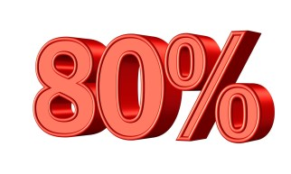 red 80 percent sign