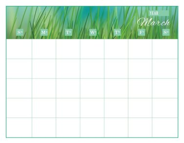the month of March on a calendar sheet