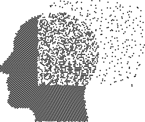 silhouette of a head with the brain part of the head disintegrating.