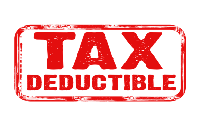 tax deductible written in red with a red rectangle box outside of it