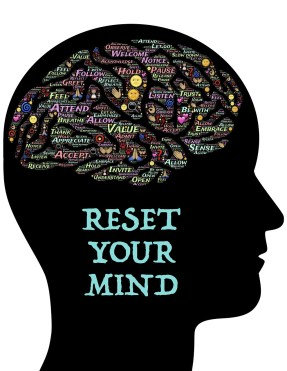 """silhouette of a head with words inside the brain and the words """"reset your mind"""""""