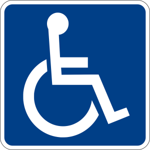 blue and white disability sign