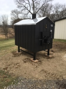 Final installation placement of ezboilers outdoor wood furnace.