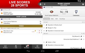 My Games Android sports live scores on your mobile