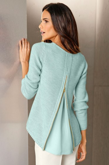 Go Green with green clothes: Capture European Zip Drape Back Pullover