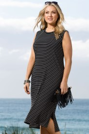 Plus size clothing: striped dress