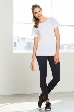 Keep it simple with a white tee and full length leggings