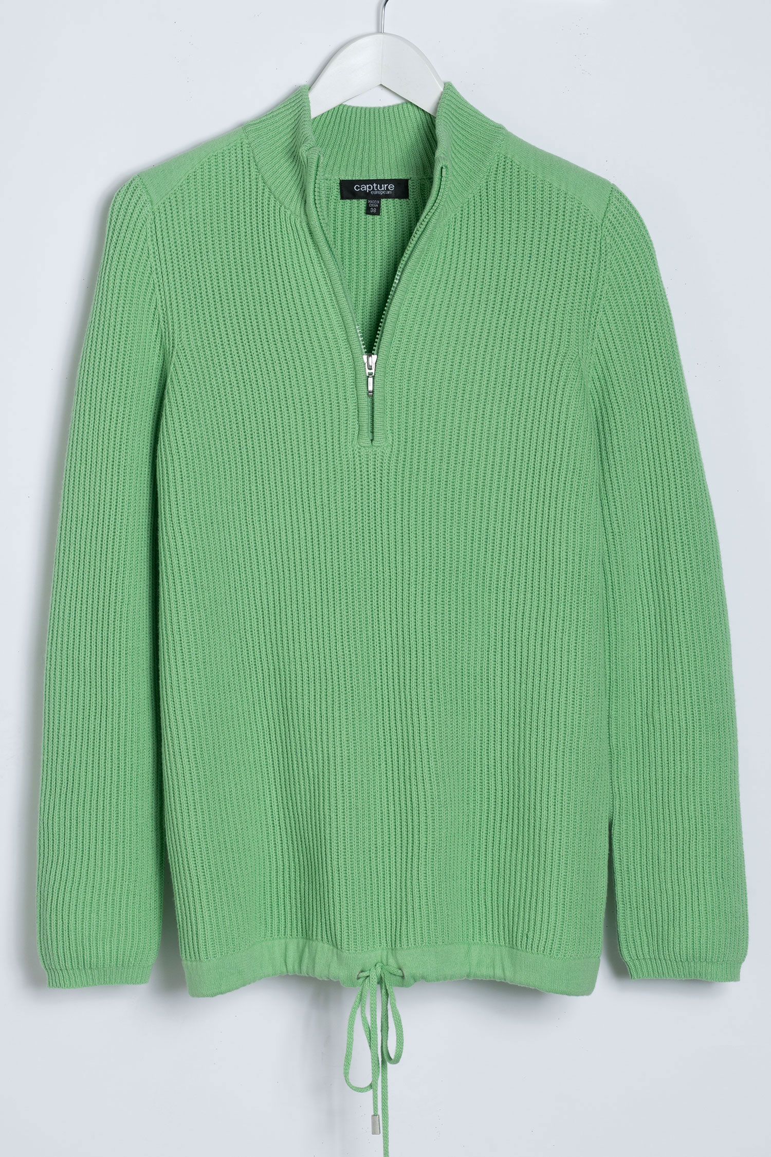 Go Green with green clothes: Capture European Ribbed 1/2 Zip Sweater