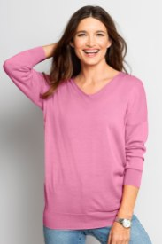We love the soft fabrication and easy-wear cut. Essentials Merino Slouchy V Neck Style Number: 85162