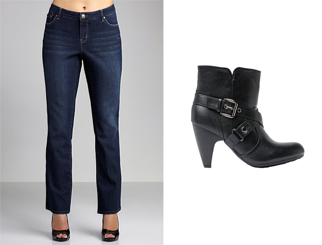 Left: Sara Bootleg Stretch Jeans; Right: Sara Short Heeled Boots