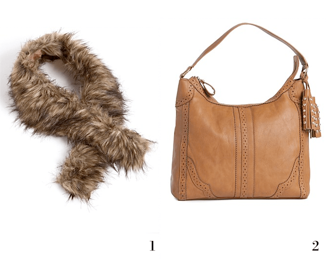 1. European Collection Faux Fur Collar; 2. Shoulder Tassel Bag