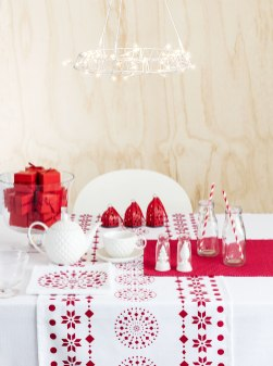 Nordic Xmas: Borrow some Scandinavian style with this simple red and white table theme which is certain to charm everyone on Christmas day.