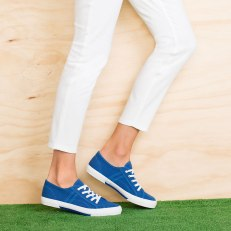 Wide Fit Lace Up Sneaker in Blue 155793