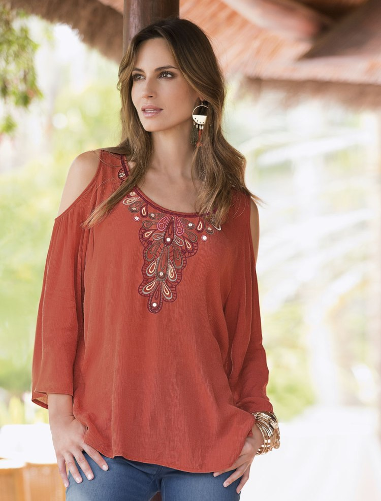 Together Embroidered Cold Shoulder Top