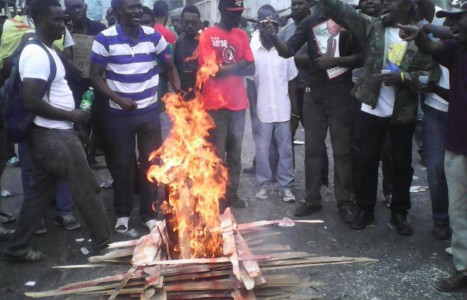 Haiti protest demonstration demanding removal of Martelly dictatorship, end US/NGO occupation, Feb 7, 2015