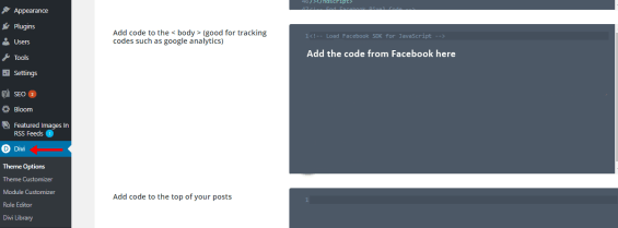 Facebook code integration