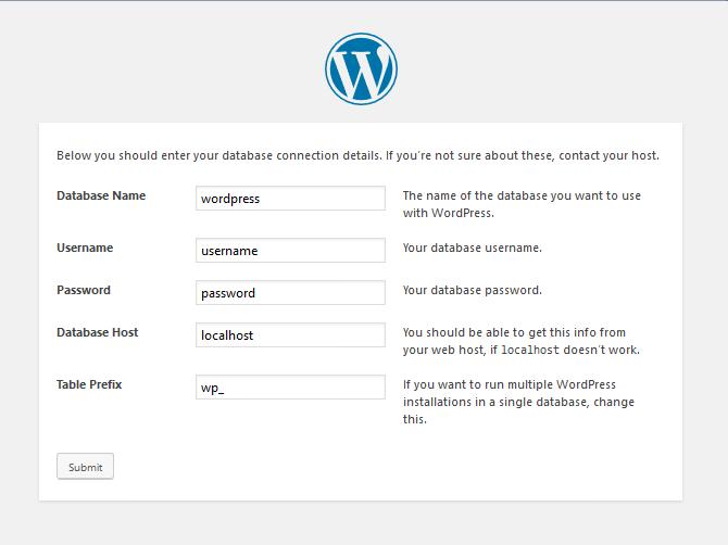 database setup info