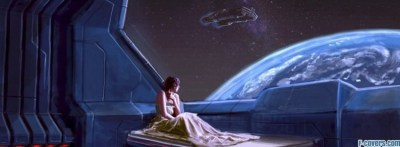 woman in outer space bed fantasy art Facebook Cover ...