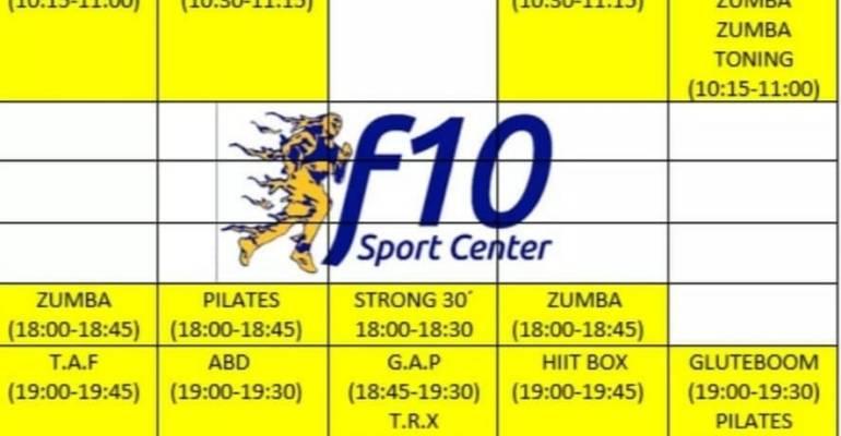 CLASES Y HORARIOS F10 SPORT CENTER ZAMORA