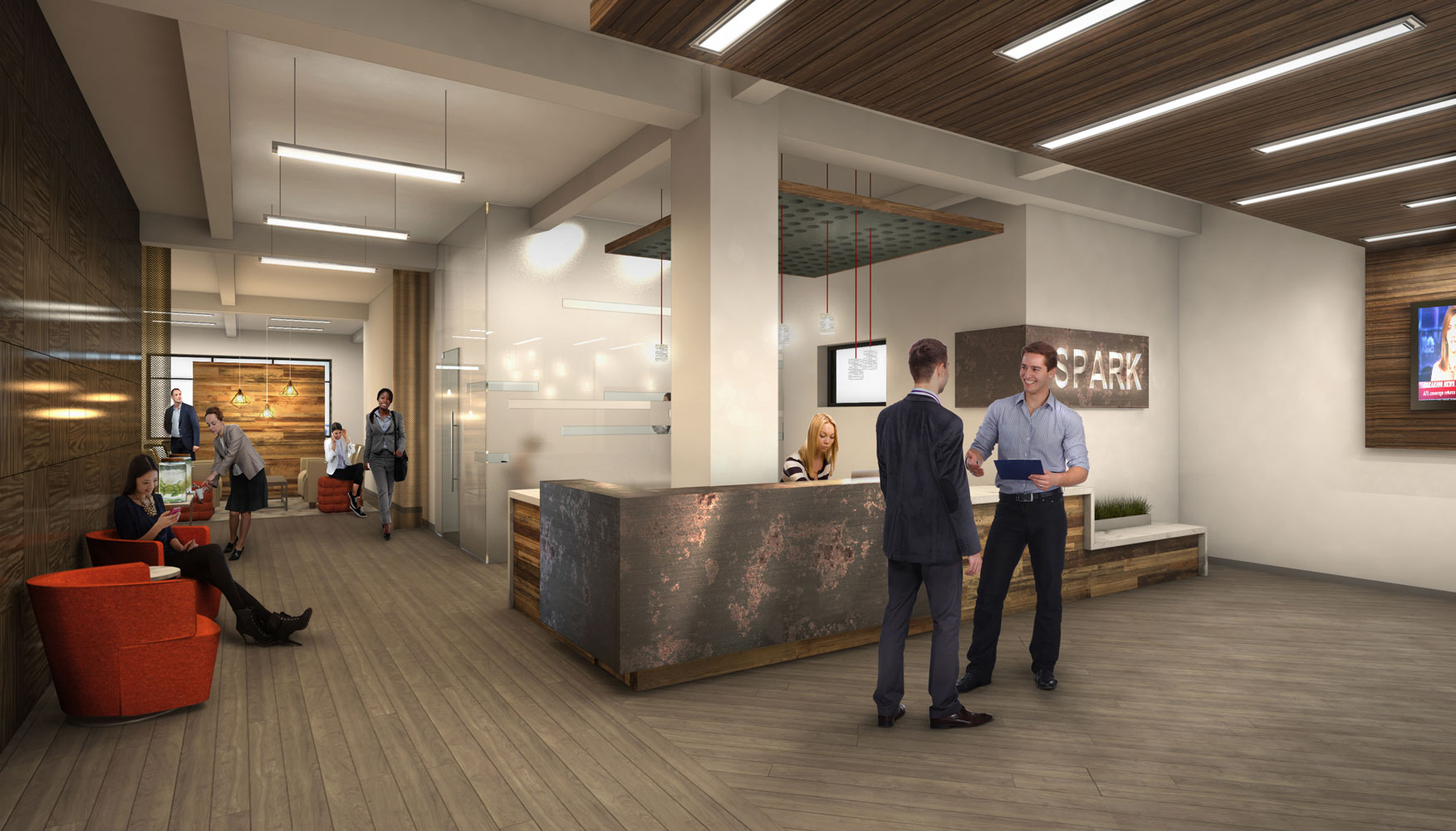 Spark Collaborative Office Space Architectural 3D Rendering