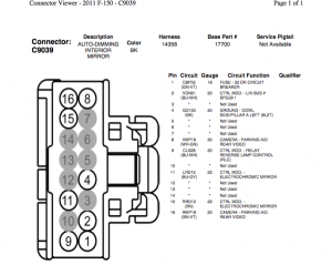 2014 Rearview Mirror wire diagrams?!?!  Ford F150 Forum