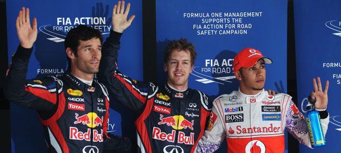 Vettel, Hamilton y Webber después de la clasificación (Hamilton saldrá 5º)