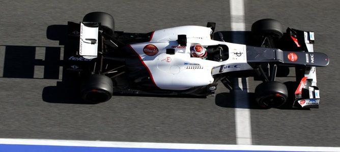 Kobayashi rodando en la última jornada de los primeros test de Barcelona