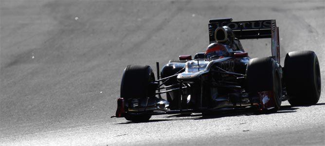 Grosjean rodando hoy con su E20 en Barcelona