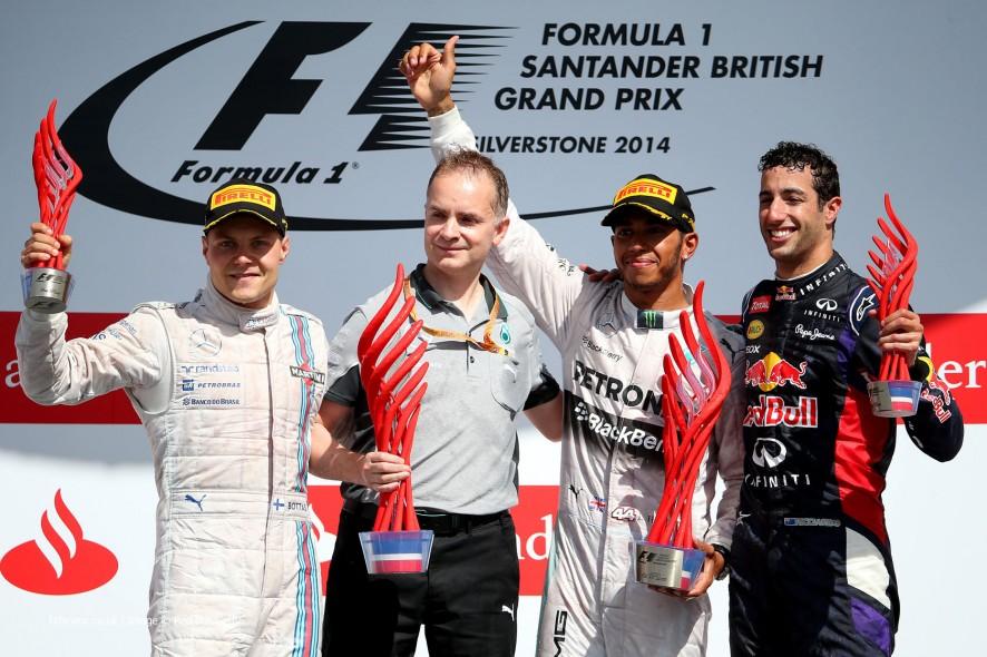 Valtteri Bottas, Lewis Hamilton, Daniel Ricciardo, Silverstone, 2014