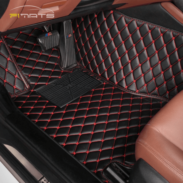 Black and Red driver seat diamond car mats