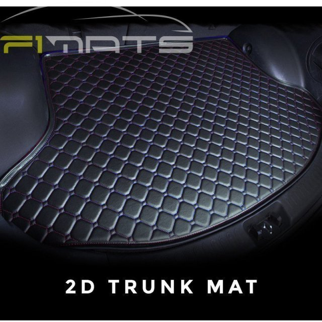 Diamond Car Mats Black and Blue 2D Trunk Set