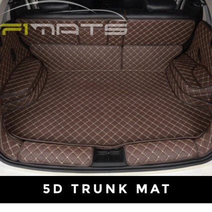 Brown Stitching Luxury Diamond Car Mats 5D Trunk