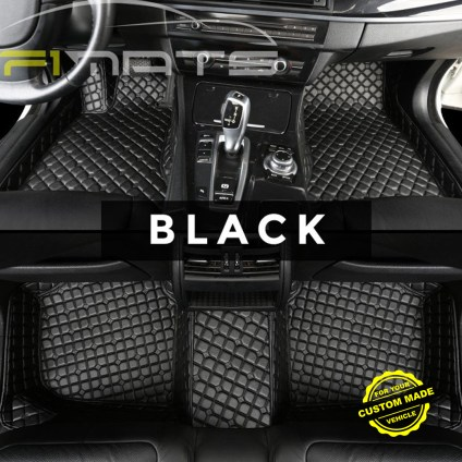 Black Luxury Flower Car Mats
