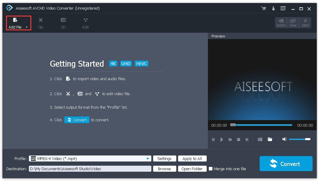 AVCHD Video Converter add files