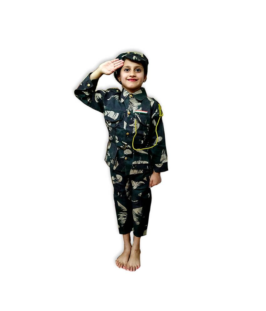 Kids Indian Military Costume Fancy Dress on Rent
