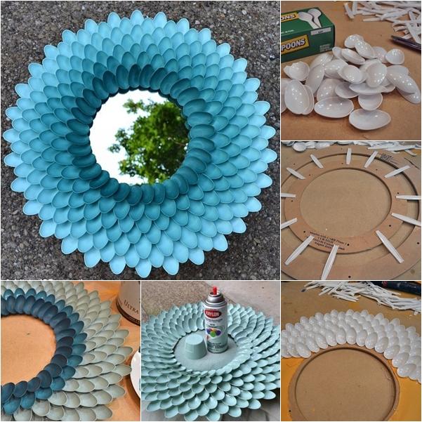 DIY Decorative Plastic Spoon Mirror FAB ART DIY Tutorials