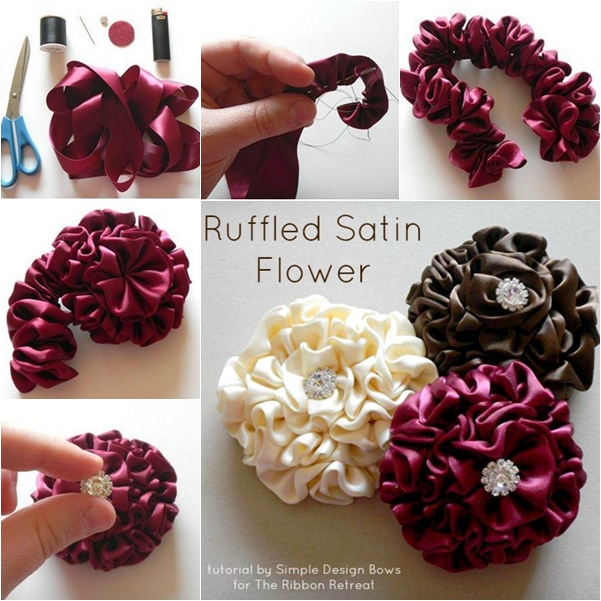 DIY Easy Classy Ruffled Satin Flower ribbon flower hairclip f
