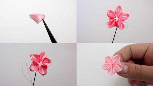 How To Make Japanese Ribbon Cherry Blossom FAB ART DIY