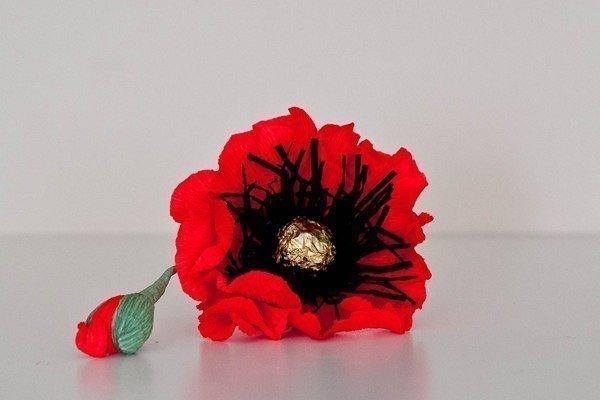 How To Make Red Chocolate Poppy Flower Bouquet DIY Tutorials