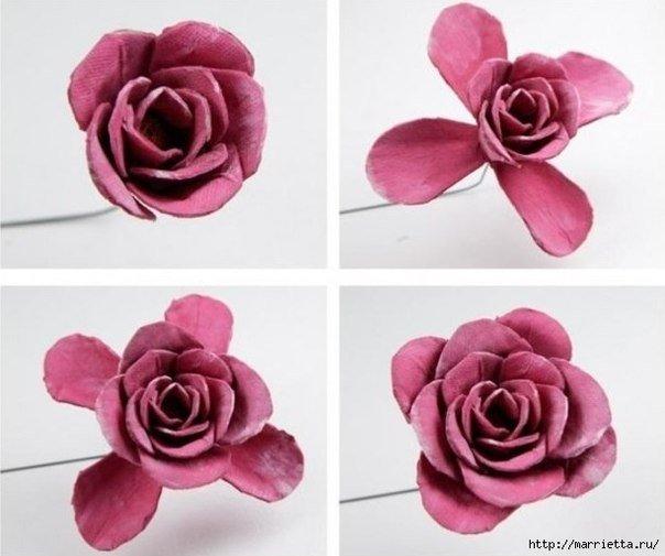 DIY rosas hermosas de Upcycled huevo caja de cartón